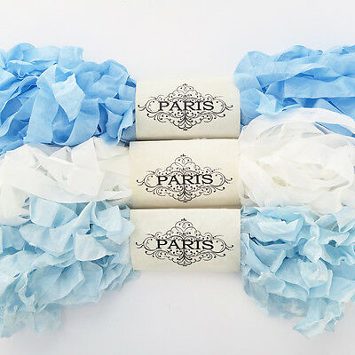 NEW Seam Binding Scrunched Rayon Ribbon-Crazy Quilting-  Blue -White-15 YARDS