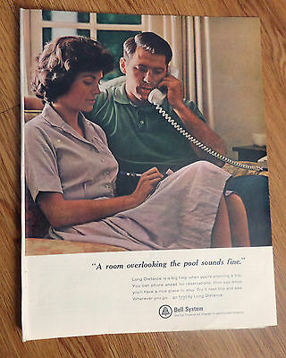 1965 Bell Telephone Ad Planning a Trip Long Distance Theme