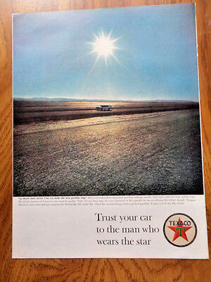 1963 Texaco Oil Ad  The man who wears the Star  Up ahead More Desert
