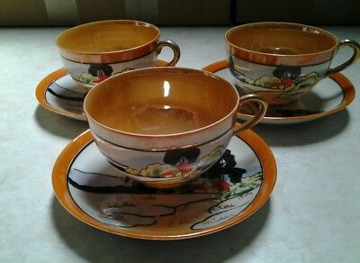TT Takito hand painted tea cups and saucer set of 3