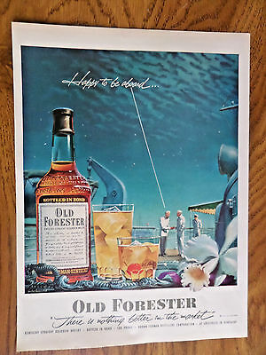 1952 Whiskey Ad Old Forester  Cruise Ship Theme