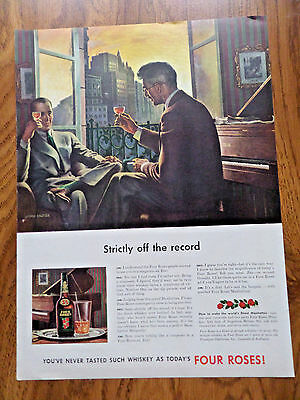 1942 Four Roses Whiskey Ad   Strictly off the Record