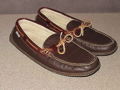 LL Bean Brown Leather Moccasins Slippers Men's 10 M