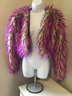 Women's Faux Fur Bolero Jacket perfect for Burning Man in Lime, Purple and Pink