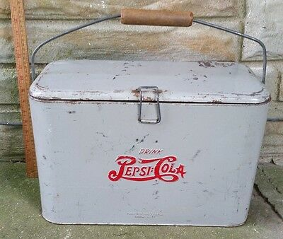 "Vintage Pepsi Cola Gray Metal Cooler Progress Wooden Handle 18"" X 11.5"" Usa"