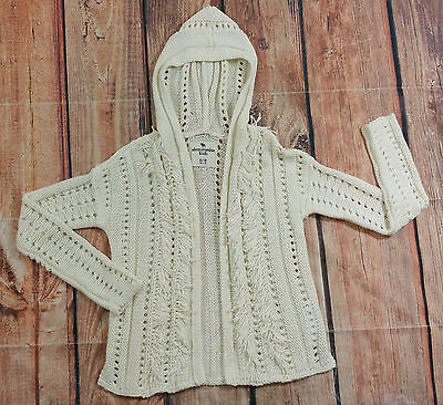Abercrombie Kids Girls Cream Ivory Cardigan Sweater with Hood Size 9/10