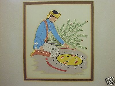 1950-1970 SILKSCREEN PRINT by HARRISON BEGAY Navajo Boy Making Sand Painting