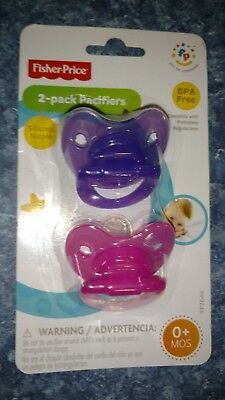 Fisher Price 2-Pack Silicone Nipple Pacifiers New 0+ Months Pink Purple Girl