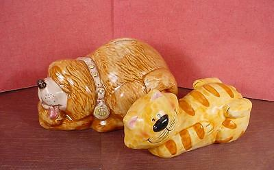 Pair Of Adorable Shaggy Dog And Striped Kitty Cat Ceramic Banks - Treasure Craft