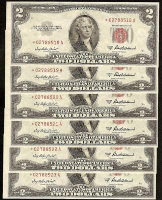 6 CONS 1953A STAR $2 DOLLAR UNITED STATES LEGAL TENDER RED SEAL NOTES Fr 1510*