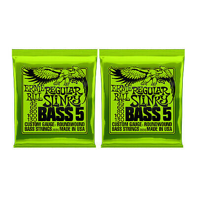 Ernie Ball 2836 5-String Bass Guitar Strings Regular Slinky 45-130 - 2 Pack - Ne