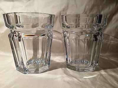 Baccarat Crystal Pair Harcourt Large Ice Bucketsvase Heavy Signed