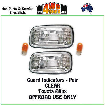 Indicator Guard Repeater Blinker Lights Toyota Hilux Pair Clear 1997-2005