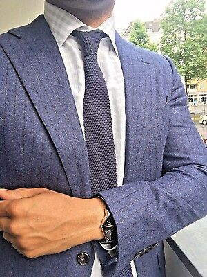 NWOT Suitsupply Lazio Blue Striped 100% Wool Blazer - Size 38L (Blazer ONLY)