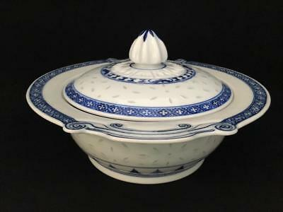 Unique Vintage Chinese Rice Eye Covered Serving Dish Blue & White With Finial