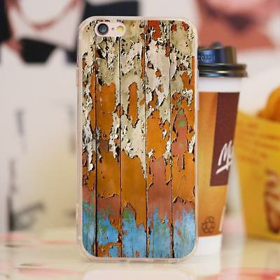 Rusty Fade Wood Pattern Shockproof Thin Soft Phone Case Cover for iPhone 7Plus