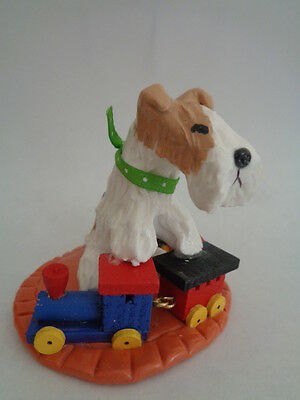 Ooak*****wire Fox Terrier Playing With A Wooden Choo-Choo Train Art Figurine****