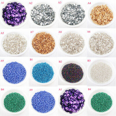 DIY1-5K Pcs Art Materials Sequins Paillettes Glass Bugle Tube Seed Crafts Beads