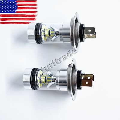 2X H7 100W CREE LED Fog Tail Driving Car Head Light Lamp Bulb White Super Bright