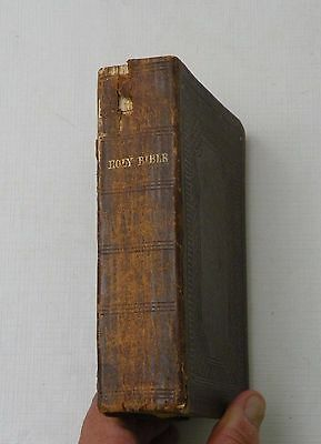ANTIQUE 1859 American Bible Society HOLY BIBLE OLD/NEW TESTAMENT w/GENEALOGY