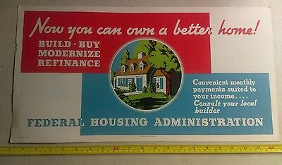 Vintage FHA Federal Housing Administration Advertising Sign Government Printing