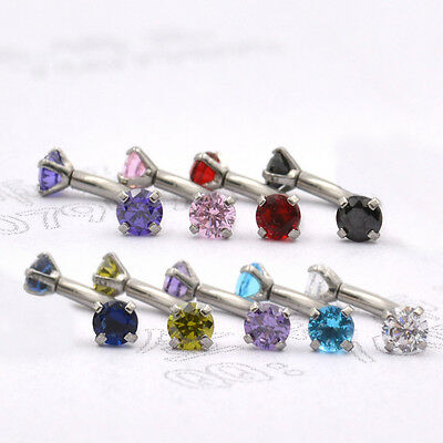 UK Crystal CZ 316L Solitaire Prong Set Eyebrow Ear Curved Banana Bar Piercing