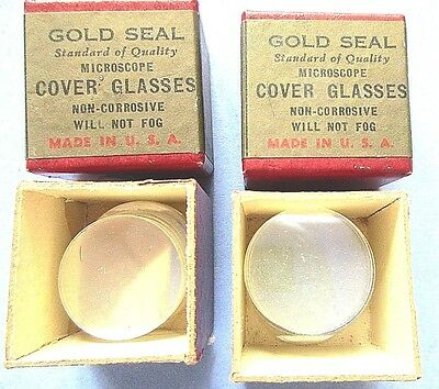 """2 BOXES VINTAGE  GOLD SEAL MICROSCOPE COVER GLASSES= 1/2 oz. EACH= 7/8"""" = # 2 TH"""