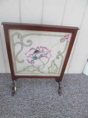 49286 Mahogany Fireplace Mantle Firescreen  with Framed Art Deco Embroidery