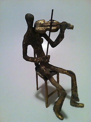 Bronze Violin Player Sculpture Statue Figure Music Gift Orchestra Large