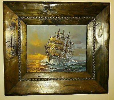 PRESTON WILLIS Oil Painting on Board Nautical Clipper Ship Signed and Framed