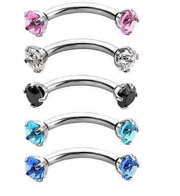 Crystal CZ 316L Solitaire Prong Set Eyebrow Ear Curved Banana Bar Piercing 10mm