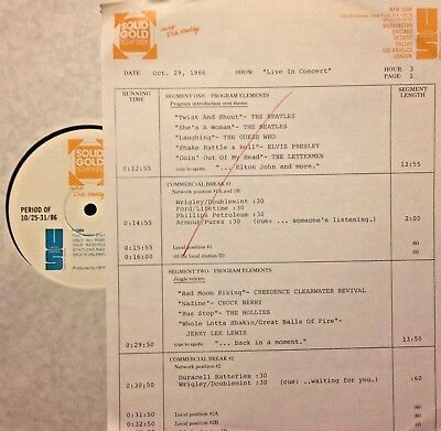 Radio Show:10/29/86 Live In Concert! Beatles, Guess Who,ccr, Chuck Berry,hollies