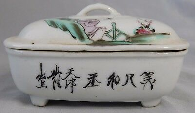 ATQ 1900'S Chinese Rose Famille Calligraphy Porcelain Trinket Dish Soap Box