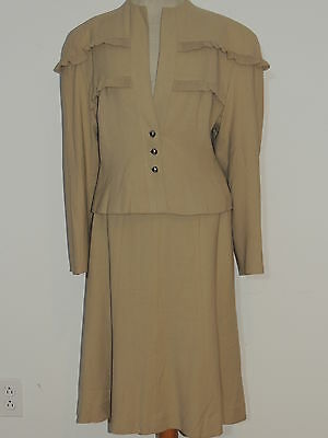 1940's WW2 Era Tan Wool crepe Suit w Ruffles J J Haggarty MED