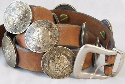 Vtg 1920s Mexican Coin Silver Peso Concho Native American Leather Belt