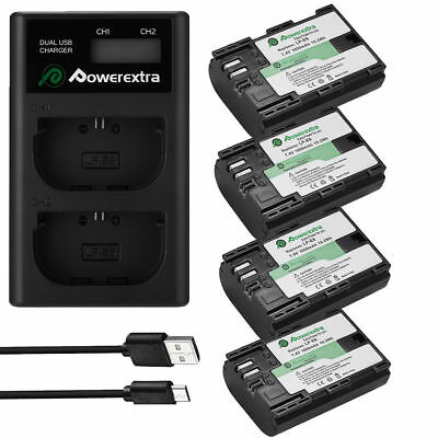 LP-E6 Battery + LCD Dual Charger for Canon EOS 70D 6D 7D 5D 60D 80D Mark II III