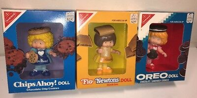 1983 Nabisco Chips Ahoy Fig Newtons Oreo Cookies Dolls Complete Set Talbot Toys