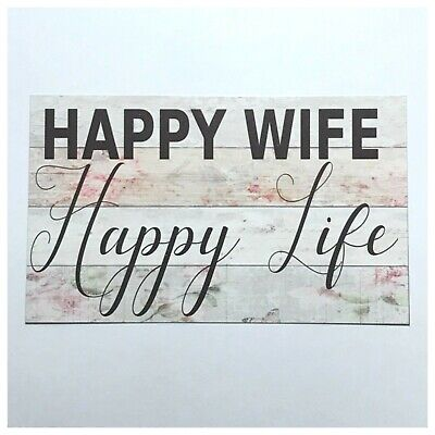 Happy Wife Life Shabby Chic Sign Tin/Plastic Wall Plaque Hanging Mum French Home