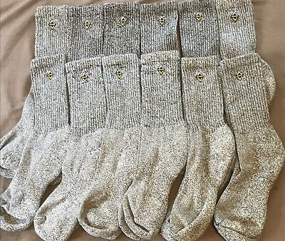 NEW!! Mens Athletic Wool Crew Socks Gray  Size Large 8-12 Lot Of 12