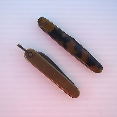 Antique English Pen Pocket Knife, Brass Grips, Pair of Sheffield Knives.