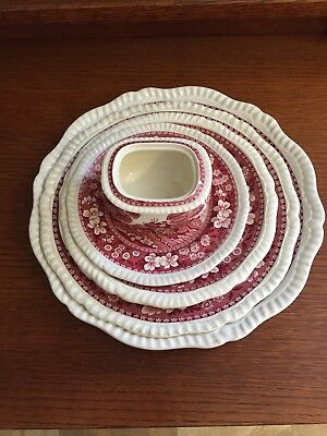 Lot Of Vintage Copeland Spode Tower Red China