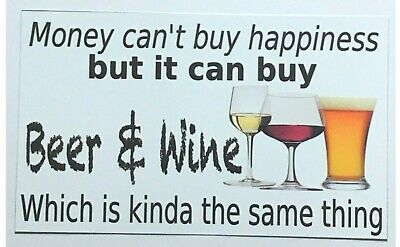 Beer & Wine Happiness Sign Door Wall Plaque or Hanging Bar Drinks Shed Alcohol