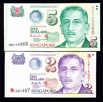 SINGAPORE $5 ND 1999 P. 39 & $2 w/Overprint ND 2000 P. 45 UNC Notes