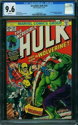 Hulk #181 CGC 9.6 Marvel 1974 1st Wolverine! White Pages! G7 142 cm clean