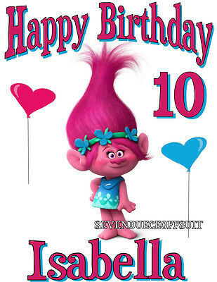 New Personalized Poppy Trolls Birthday T Shirt Custom Party Add Name And Age