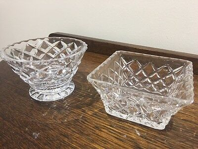 Vintage Stuart crystal - 1 round and 1 square bowl - 50+ years old