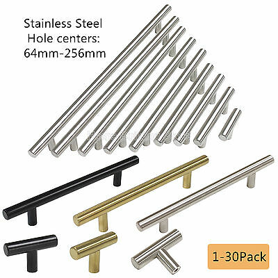 Brushed Stainless Steel T Bar Konbs Kitchen Cabinet Handles Door Pulls 1-30Pack