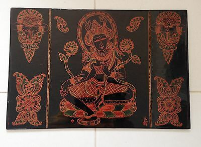 Mid 20Th Century South Asian Handcrafted And Lacquered Panel