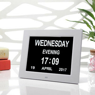 "Extra Large 8"" Digital Memory Loss Alarm Clock Day & Month Calendar Versatile"