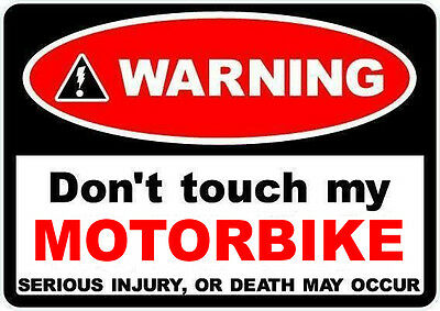 2  WARNING DONT TOUCH MY MOTORBIKE decal sticker Motorcycle WORLDWIDE POSTAGE